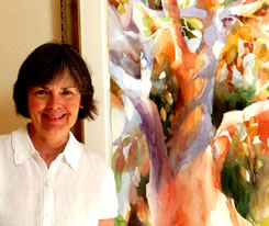 Jean Warren with her painting Oaks